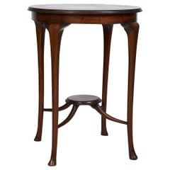 English Art Nouveau Round Tea Table of Mahogany