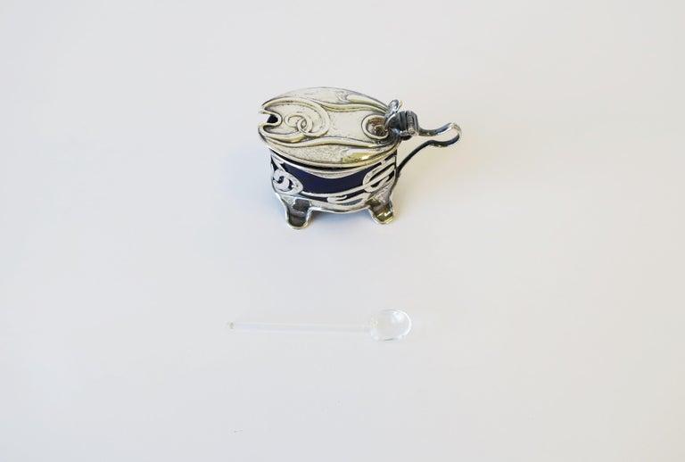 English Art Nouveau Sterling Silver Salt Cellar For Sale 3