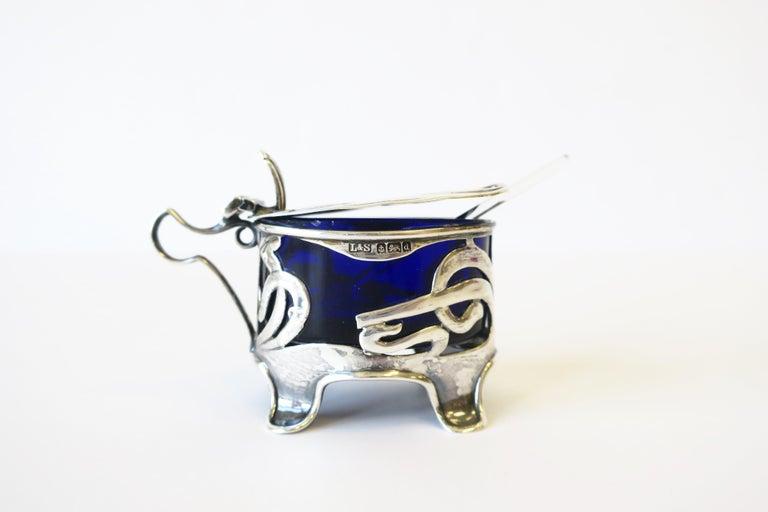 English Art Nouveau Sterling Silver Salt Cellar For Sale 6