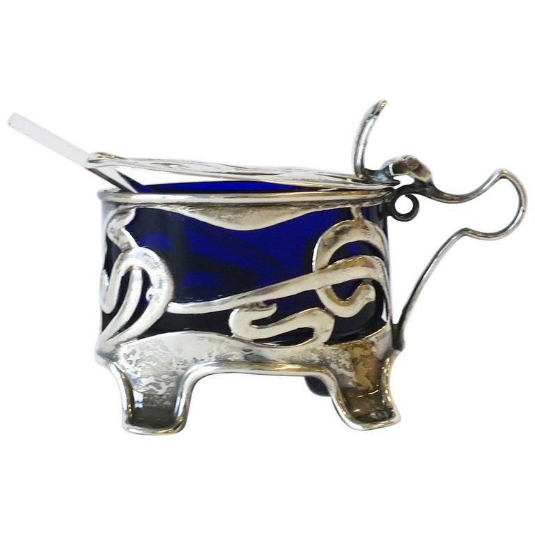 English Art Nouveau Sterling Silver Salt Cellar For Sale