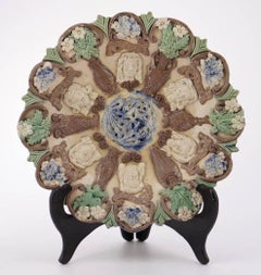 """English Art Pottery Castle Hedingway Dish,""""The Attributes of Chivalry"""""""
