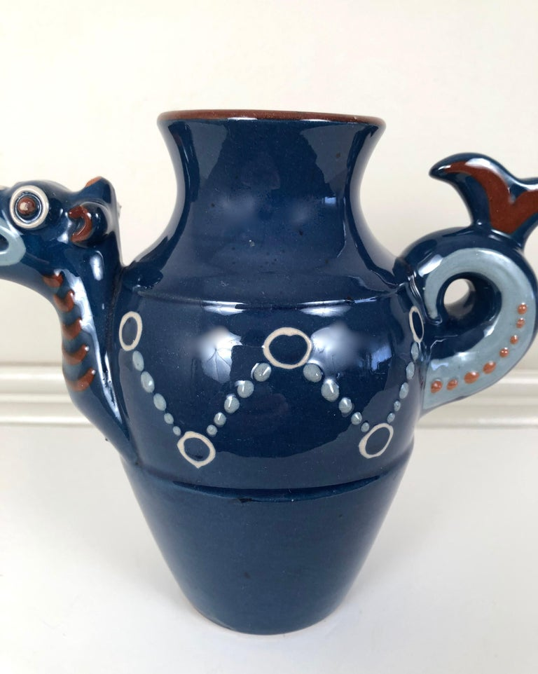 Arts and Crafts English Art Pottery Longpark Dragon Pitcher For Sale