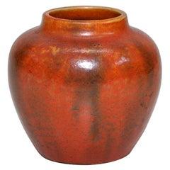 English Art Pottery Orange Vase Ceramic Chinese Style Pot