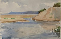1900's English Impressionist Watercolor Painting Gentle Blue and Cream Seascape