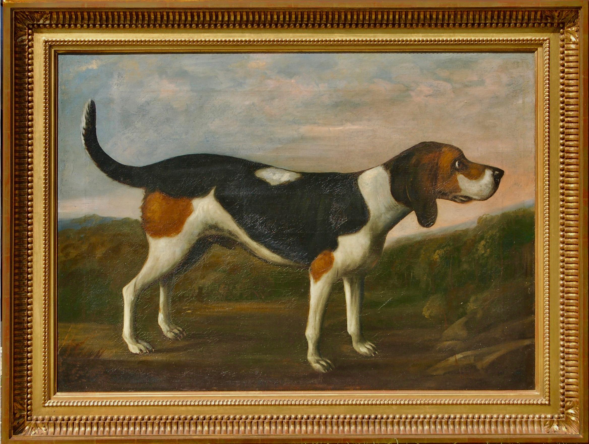 English 19thC folk art oil portrait of a Beagle hound in a landscape circa 1830