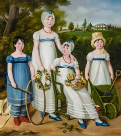 Family Portrait of Four Children in a Country Landscape