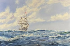 Setting the Royals - Very Large Marine Oil Painting - Tall Sailing Ship at Sea