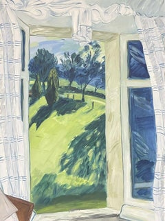 VERY LARGE MODERN BRITISH OIL PAINTING - WINDSWEPT PARKLAND VIEW FROM WINDOW