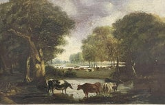 VICTORIAN 19TH CENTURY ENGLISH OIL PAINTING - CATTLE DRINKING FROM WOODLAND POOL
