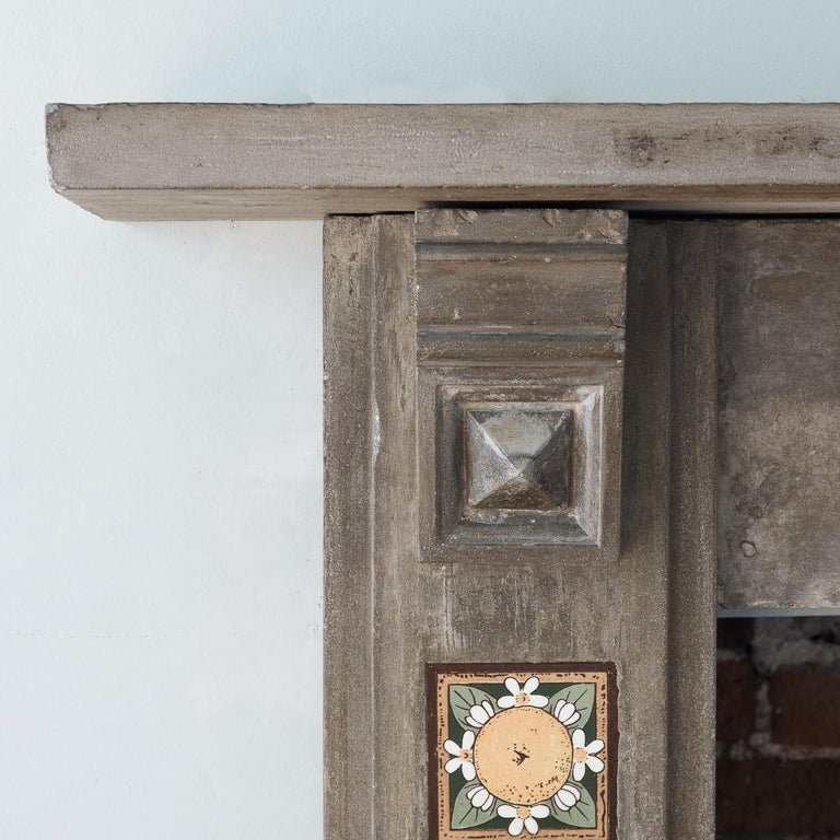 English Arts & Crafts Artificial Stone and Tiled Fireplace For Sale 5