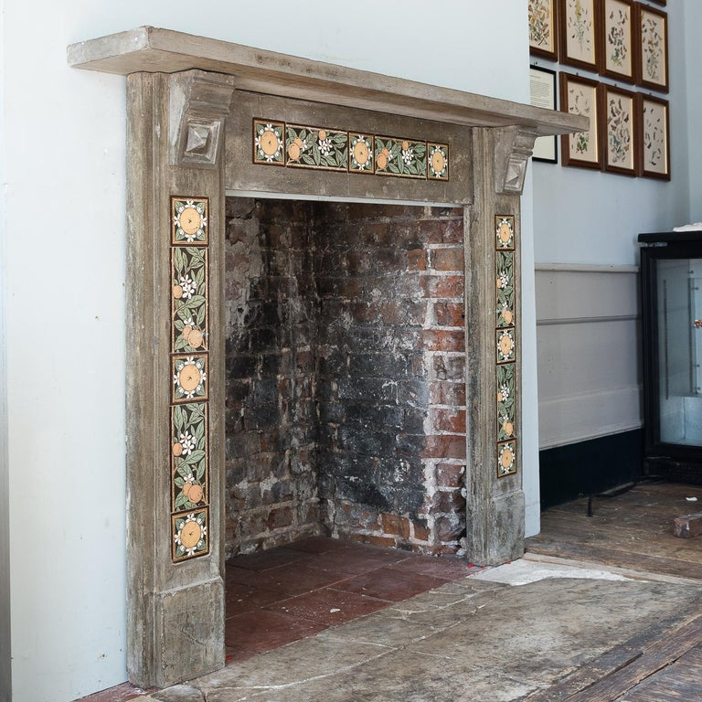 English Arts & Crafts Artificial Stone and Tiled Fireplace For Sale 6