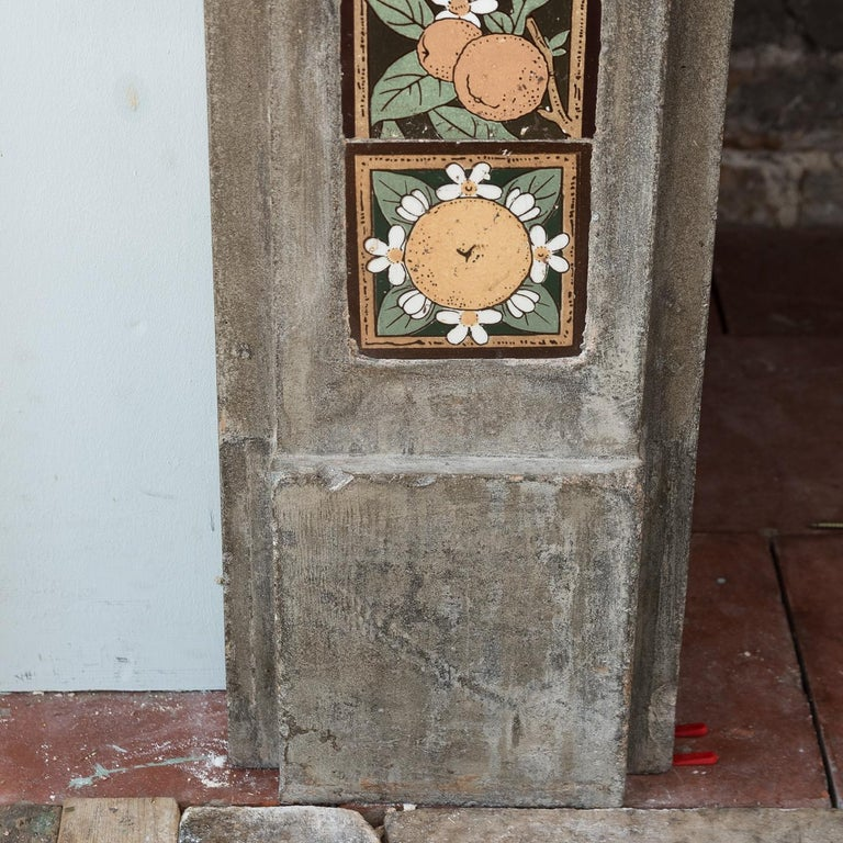 English Arts & Crafts Artificial Stone and Tiled Fireplace For Sale 7