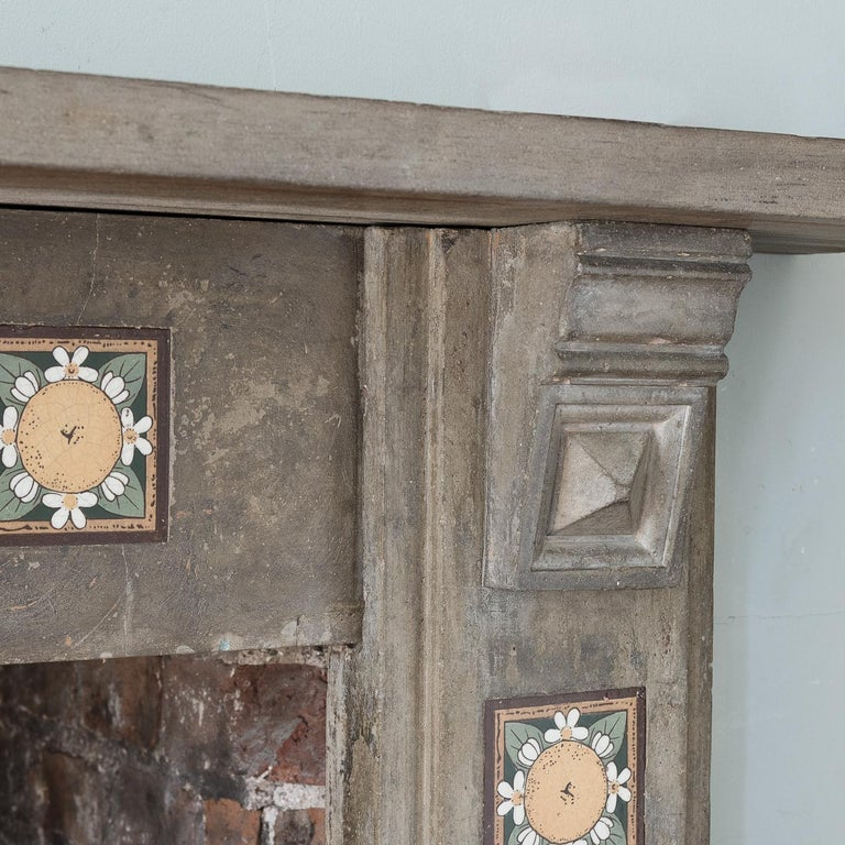 English Arts & Crafts Artificial Stone and Tiled Fireplace For Sale 4