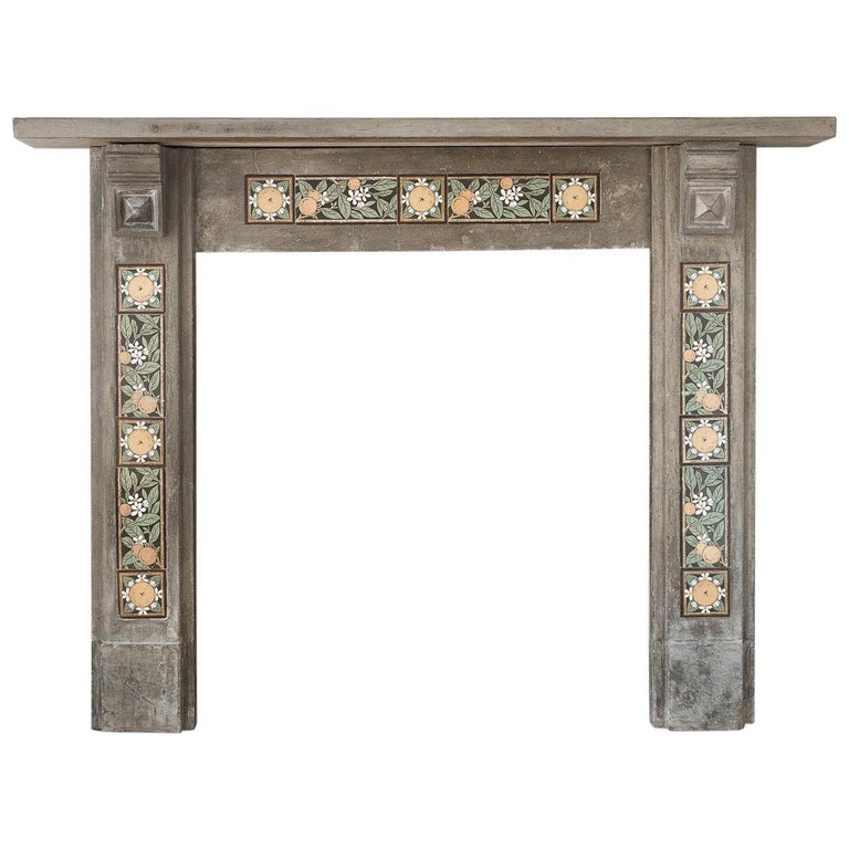 English Arts & Crafts Artificial Stone and Tiled Fireplace For Sale