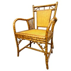 English Arts & Crafts Bamboo Simulating Root Wood and Rattan Armchair, 1900