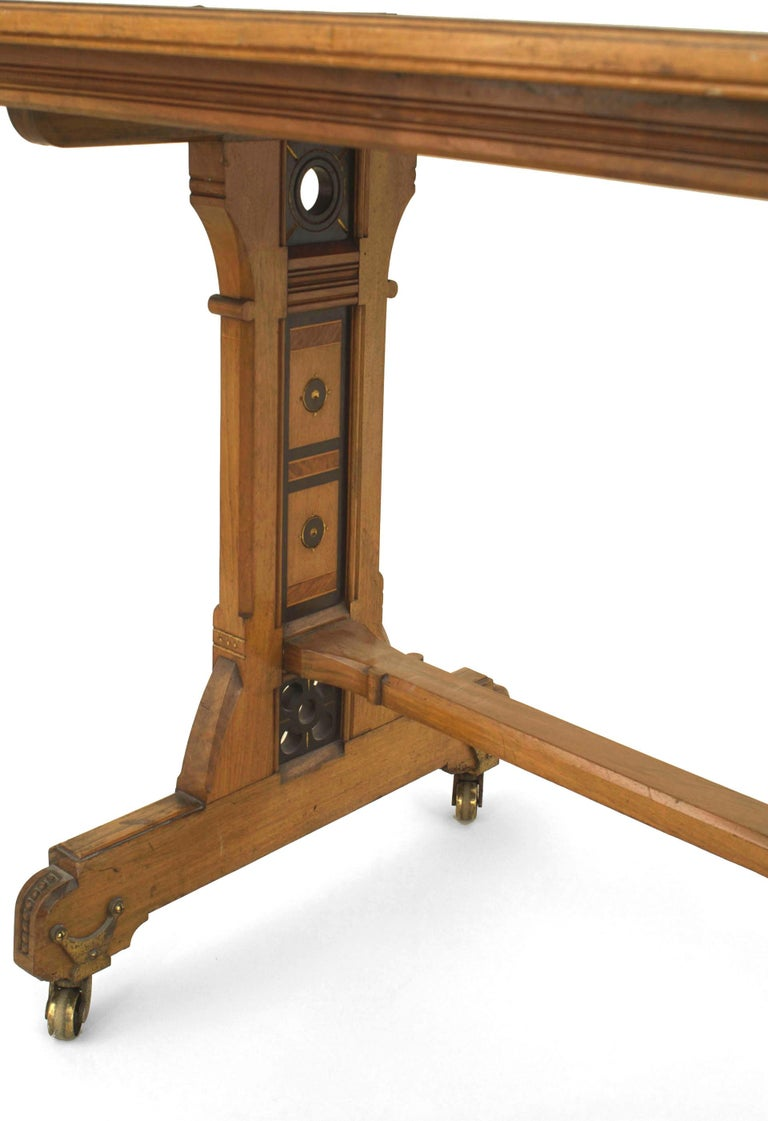 British English Arts & Crafts Aesthetic Movement Elm Wood Desk with Contrasting Inlay For Sale