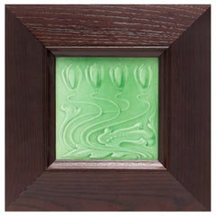 English Arts and Crafts Framed Pottery Tile