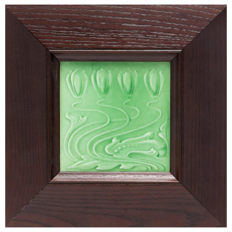 English Arts and Crafts Framed Pottery Tile For Sale
