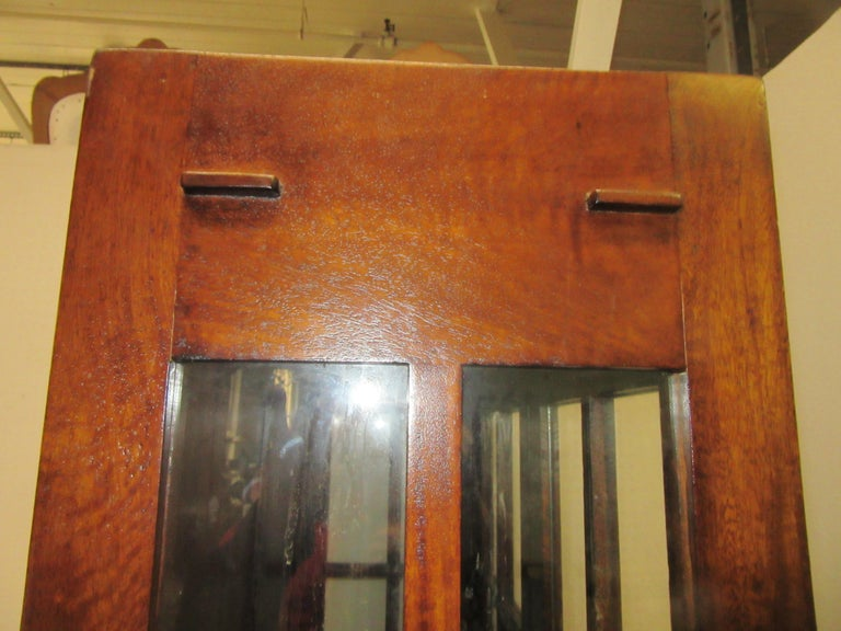 Glass English Arts & Crafts Mahogany Bookcase For Sale