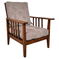 English Arts and Crafts Morris Armchair in Oak Upholstered in Grey Cord, 1910