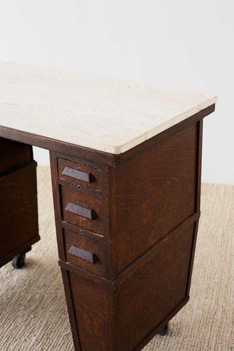 English Arts & Crafts Oak and Travertine Desk For Sale 4