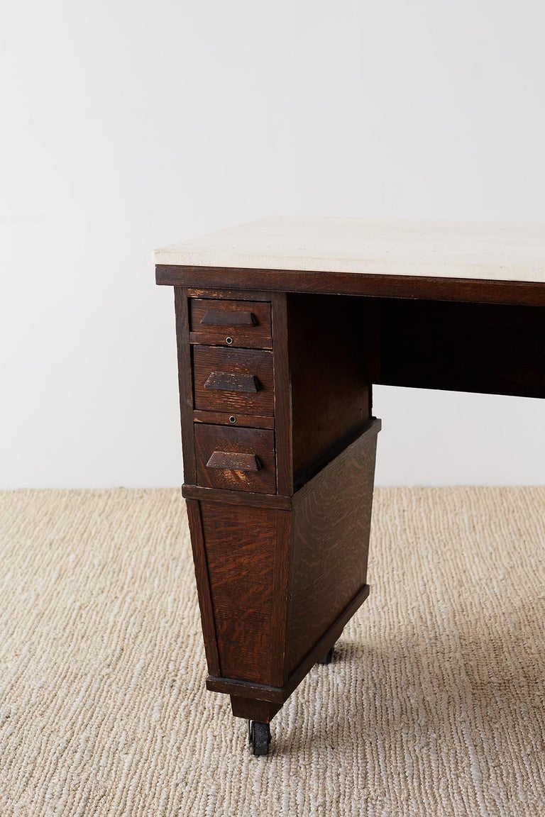 English Arts & Crafts Oak and Travertine Desk For Sale 5