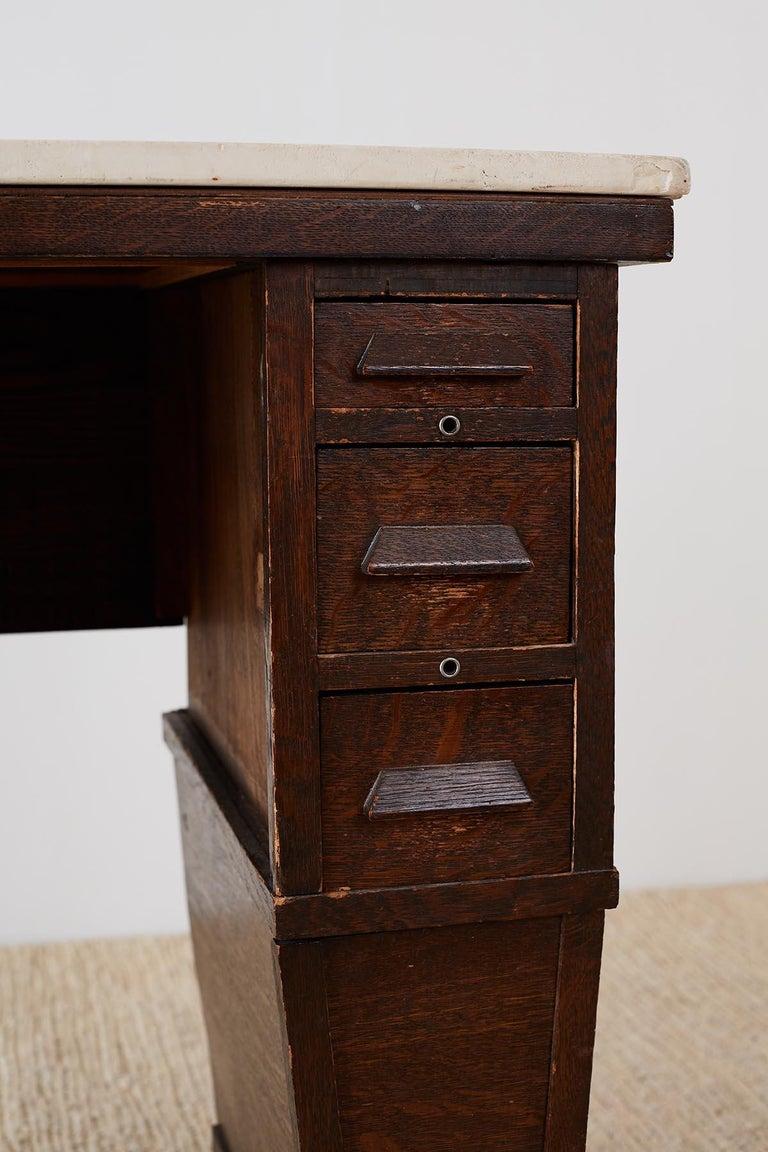 English Arts & Crafts Oak and Travertine Desk For Sale 6