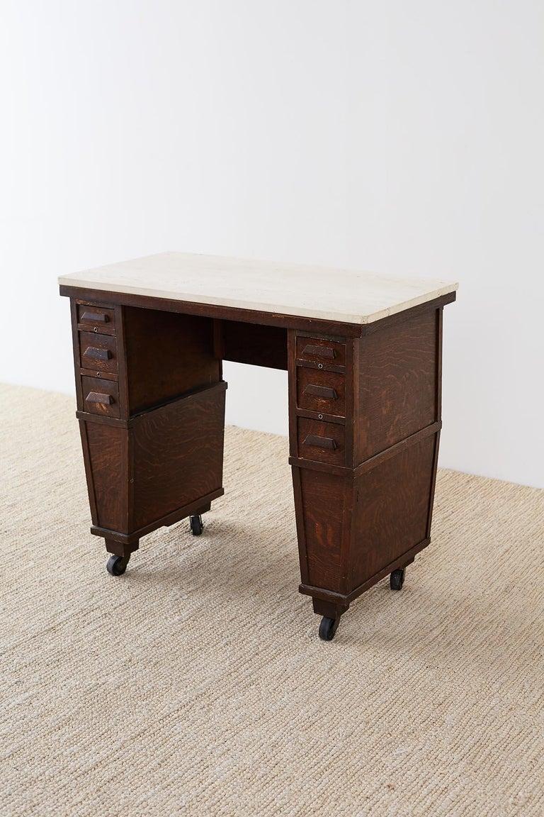 English Arts & Crafts Oak and Travertine Desk For Sale 8