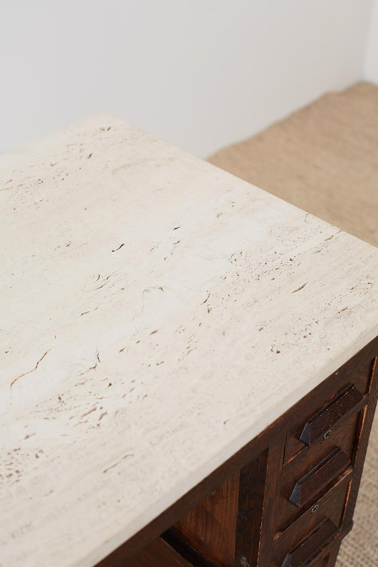 English Arts & Crafts Oak and Travertine Desk For Sale 9