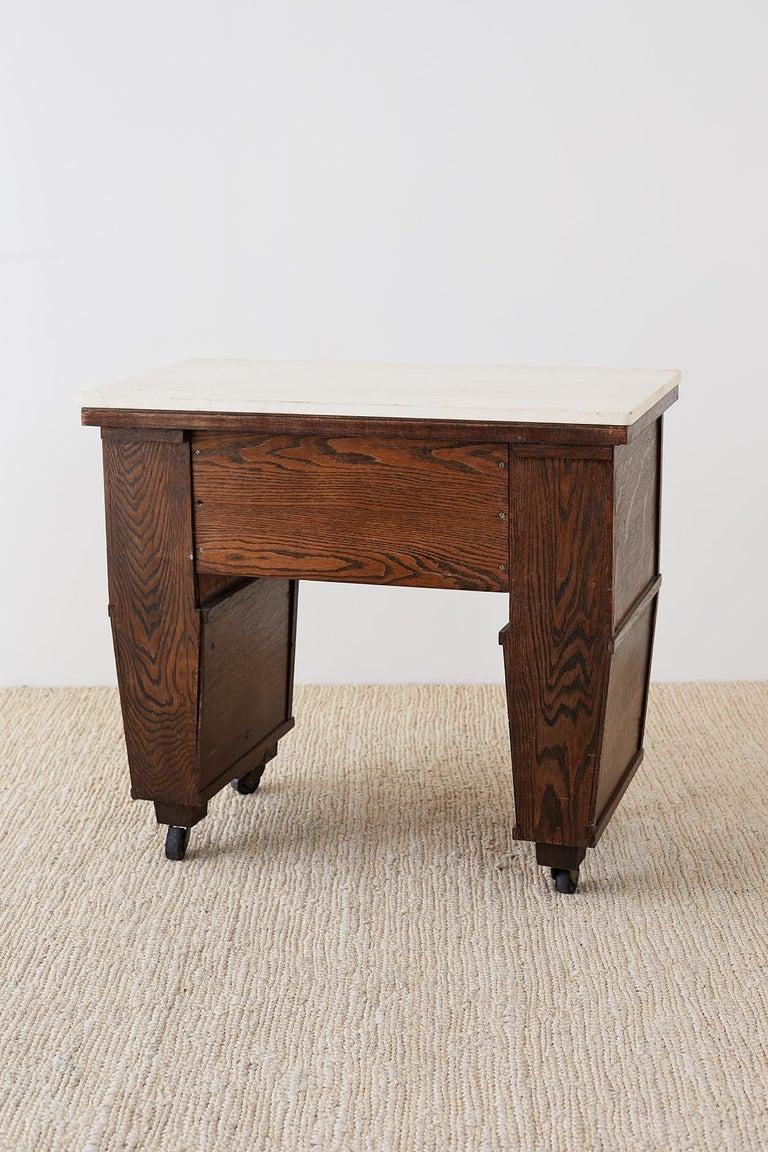 English Arts & Crafts Oak and Travertine Desk For Sale 10