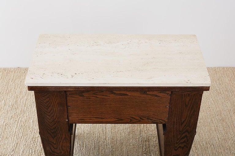English Arts & Crafts Oak and Travertine Desk For Sale 11