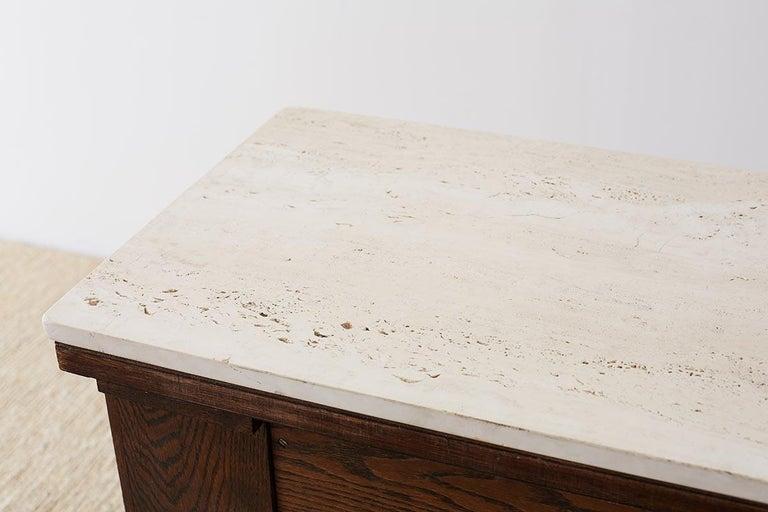 English Arts & Crafts Oak and Travertine Desk For Sale 12