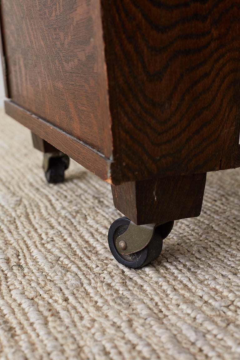 English Arts & Crafts Oak and Travertine Desk For Sale 13