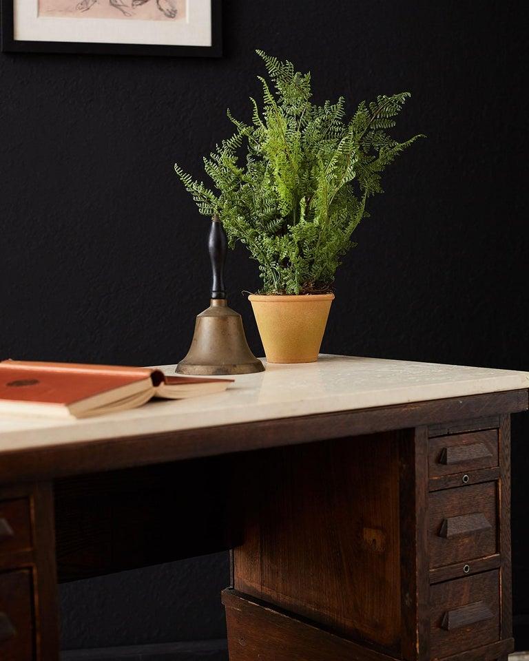 English Arts & Crafts Oak and Travertine Desk For Sale 1