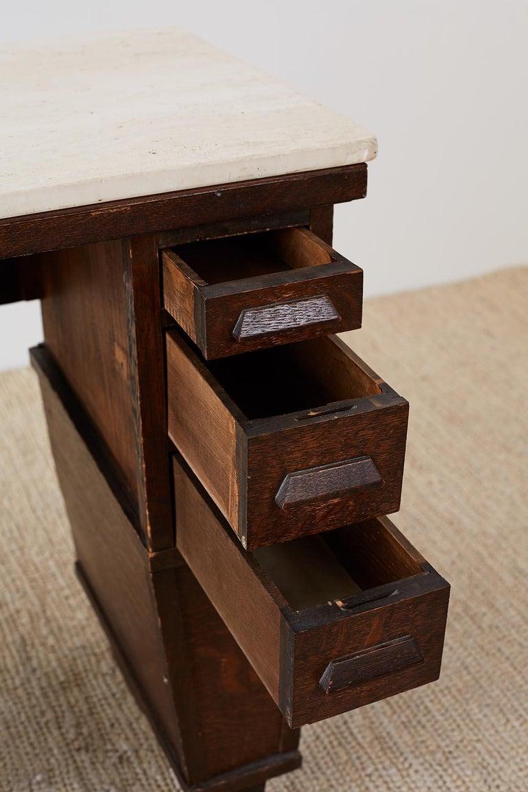 English Arts & Crafts Oak and Travertine Desk For Sale 2