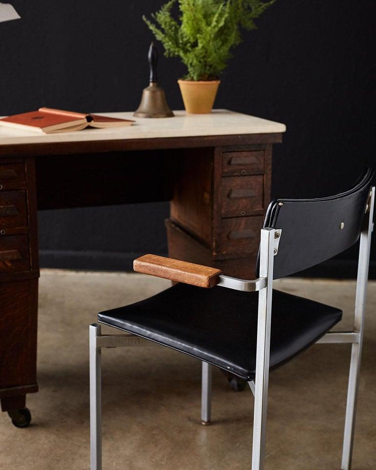 English Arts & Crafts Oak and Travertine Desk For Sale 3