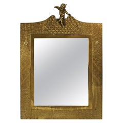 English Arts & Crafts Brass Wall Mirror with Angel