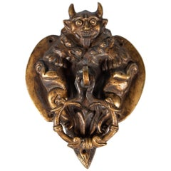 English Arts & Crafts Cast Bronze Devil Door Knocker, circa 1900