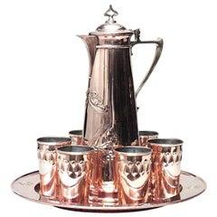 English Arts & Crafts Brass Pitcher and Glass Set