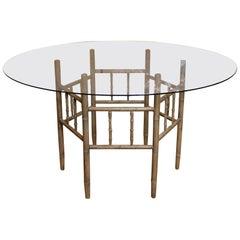 English Arts & Crafts Dining Table Glass Circular Antique