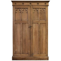 English Arts & Crafts Light Oak Vestry Cupboard