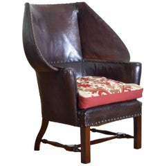 English Arts & Crafts Mahogany and Leather Upholstered Wingchair, circa 1900