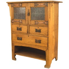 English Arts & Crafts Oak Cupboard Cabinet