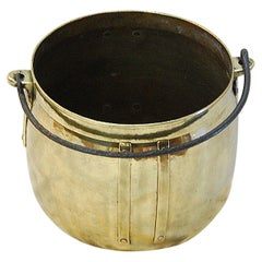 English Arts & Crafts Period Brass Cauldron with Iron Swing Handle