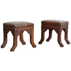 English Arts & Crafts Period Pair of Oak and Leather Upholstered Benches