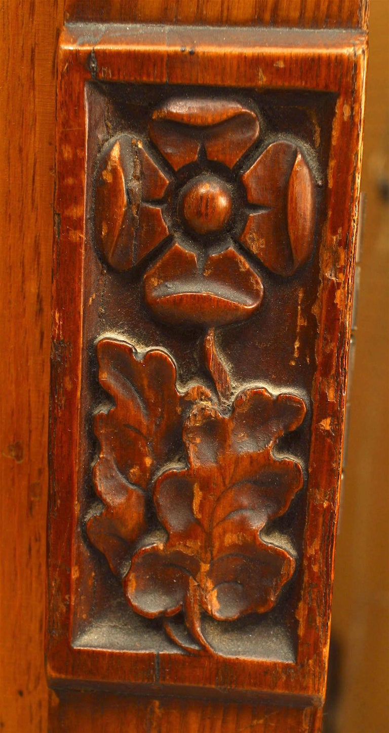 20th Century English Arts & Crafts Carved Pine Armoire For Sale