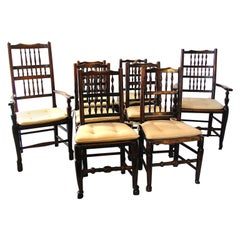 English Assembled Set of Eight Spindleback Chairs Two Arms Six Sides
