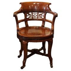 English Attorneys Edwardian Mahogany Swivel Desk Chair, circa 1900