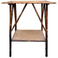 English Bamboo and Rattan Two-Tier Side Table, circa 1880-1920