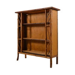 English Bamboo and Straw Bookcase, circa 1910